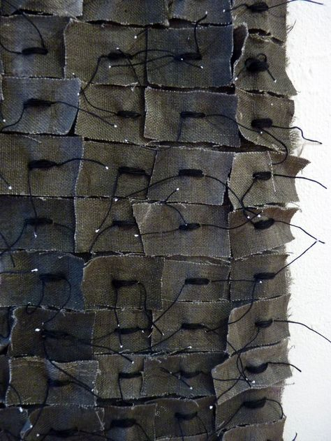 """Detail, untitled work from the """"Chinese Whispers"""" exhibition (2013) by English artist Debbie Lyddon. via the artist's blog  This looks quite rough, but could neaten the technique - stitch in different shapes/ scale"""