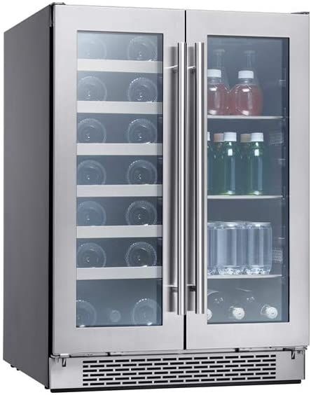 Zephyr Presrv Dual Zone Wine Amp Beverage Cooler With Glass French Door 24 Inch 5 15 Cu Ft Refrigerator For In 2020 Bar Fridges Beverage Center Wine Coolers Drinks