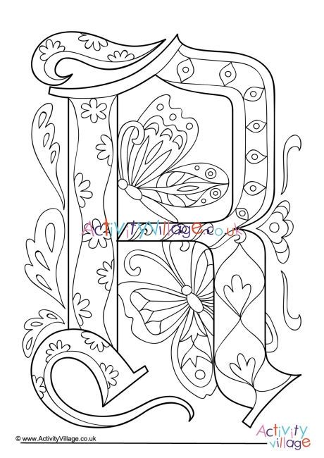 Illuminated Letter R Colouring Page Illuminated Letters Coloring Pages Letter R
