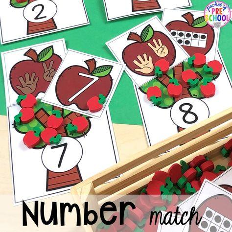 Apple number match game plus more apple activities and centers perfect for preschool, pre-k, and kindergarten. #appletheme #preschool #prek #appleactivities