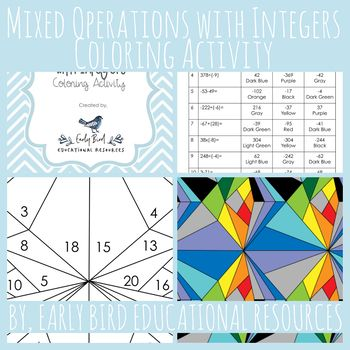 Mixed Operations With Integers Coloring Activity This Worksheet Is A Fun Way For Maths Activities Middle School Teacher Created Resources Kids Math Worksheets Subtracting integers coloring worksheet