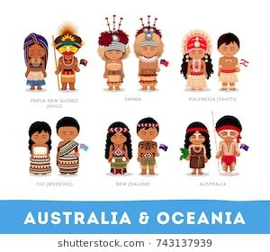 australian cartoon characters people in national clothes. australia & oceania. set of