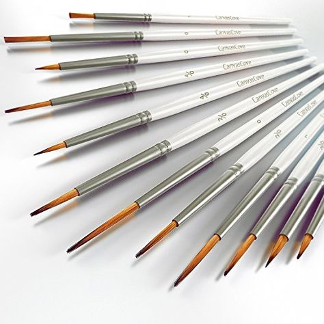 Detail Paint Brush Set 12 Professional Quality Miniature Brushes