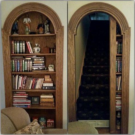 Ideas Secret Door Bookshelf Hidden Rooms Stairs - Image 20 of 24 Secret Door Bookshelf, Bookcase Door, Door Design, House Design, Panic Rooms, Hidden Spaces, Interior Barn Doors, Interior Shutters, Design Case