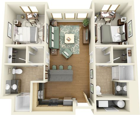 mobile home floor plans 3d - Google Search Small House Plans