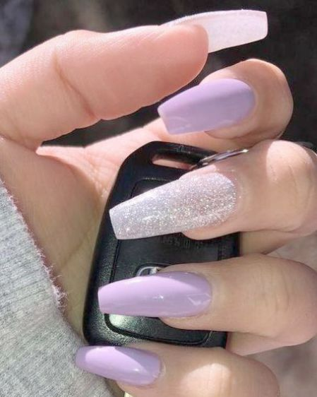 Home Blend Of Bites Purple Acrylic Nails Solid Color Nails Light Purple Nails