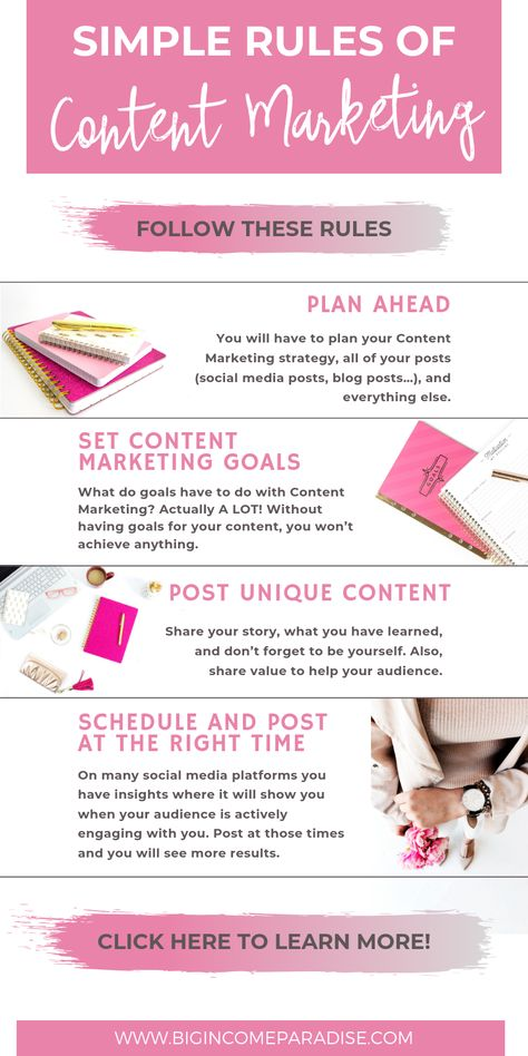 Content marketing is king so we have to follow some rules if we want to achieve success in our business. Learn how to write your content so that you build a big following and impact people. There are 15 simple rules of Content marketing you should follow. Check it out here and Re-Pin this for later. #Bigincomeparadise #ContentMarketing #Contentstrategy #content #contentcreation #contentrules #contentmarketing101