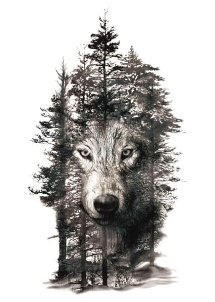 Trees Temporary Wolf In Trees Temporary Tattoo Forest Tattoos Wolf Tattoos Wolf Sleeve
