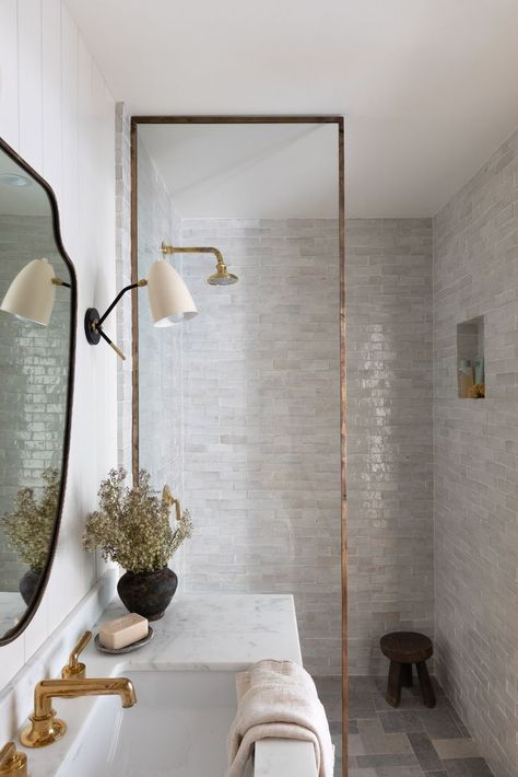 Amber Lewis reveals her own home in Woodland Hills, CA. This time we're taking you on a tour of the bathrooms, with all the sources she used! #bathroom #interiordesign Bathroom Inspiration, Home Decor Inspiration, Bathroom Inspo, Modern Bathroom, Master Bathroom, Minimal Bathroom, Bathroom Ideas, Bathroom Renos, Pool Bathroom