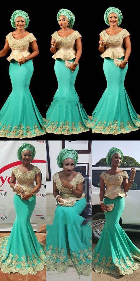 8d8c9d46744 Fashion African Turquoise Gold Mermaid Long Evening Dresses Plus Size  Peplum Appliques Ankara kitenge Women Long Formal Gowns