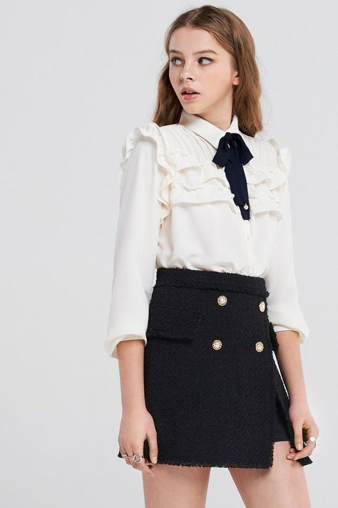 Villena Ruffle Blouse With Pearl Tie Discover the latest fashion trends online a