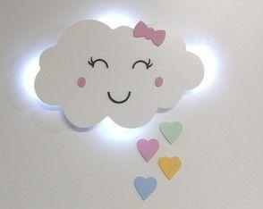 Nuvem Com Luz De Led Com Coracao Quarto De Bebe Com Olhinho Luz