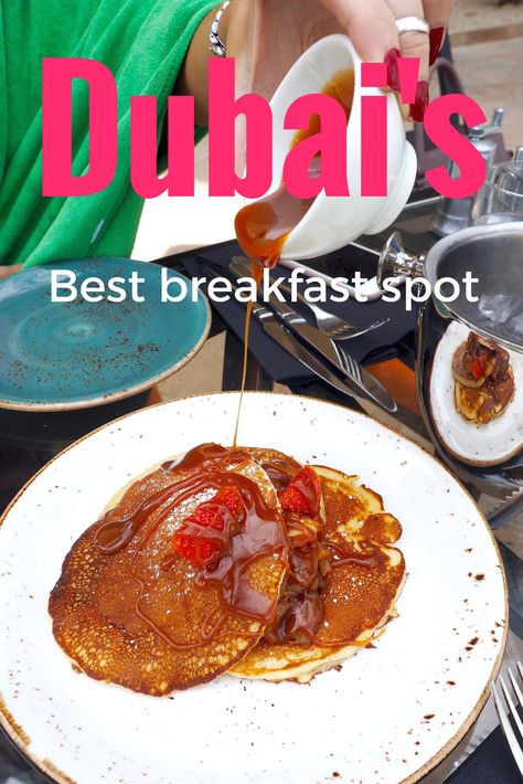 You need to know about this secret breakfast spot in Dubai! It has views of the Burj Al Arab and DELICIOUS food. Pancakes | Breakfast goals | Breakfast in Dubai | Dubai breakfast places | Where to eat in Dubai | Foodporn | Breakfast with a view | What to do in Dubai