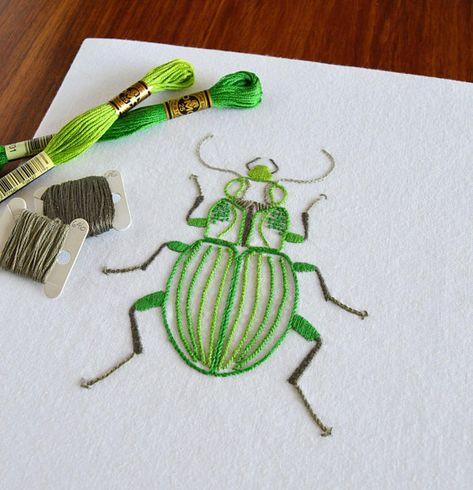 Anatomical Beetle hand embroidery pattern, a modern embroidery pattern PDF