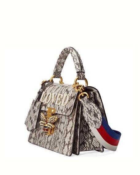 857839b1696850 Queen Margaret Small Snakeskin Top-Handle Bag, Roccia Natural ...