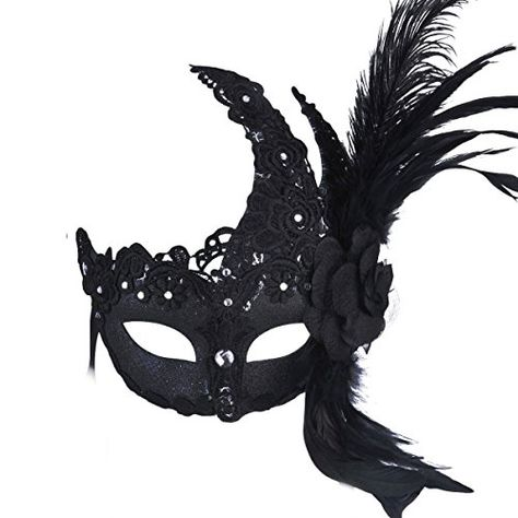 His /& Her Couple Masquerade Mask Phantom Feather for Party Prom Dance Black Gold