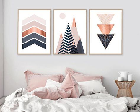 Set Of 3 Printable Downloadable Print Set Scandinavian Prints Mountains Geometric Wall Art Bedroom Decor Poster Copper Pink Navy Bedroom Decor Bedroom Wall Art Diy Wall Art