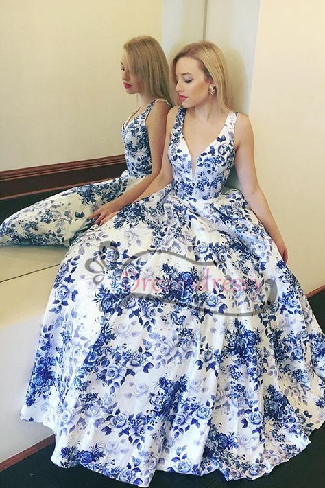 75715ad0a742 Elegant Blue and White Floral V Neck Long Prom Dress | Formals