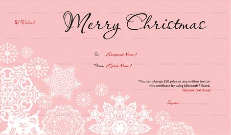 Download Frosty Pink Christmas Gift Certificate Template (PNK, #386K) MS WORD in Microsoft Word (DOC). pFrosty Pink Christmas Gift Certificate Template (PNK, #386K) MS WORD is designed by expert designers and is completely customizable. Download, Edit  Print.