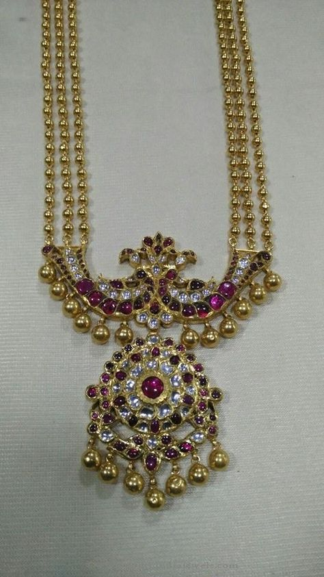 Gold Temple necklace with Ruby Pendant ~ South India Jewels
