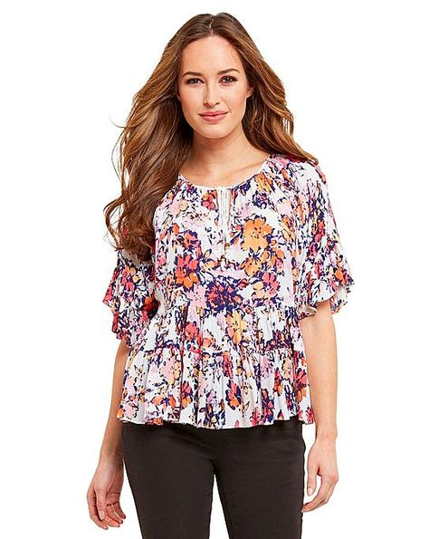 546c5b68e2faf9 Liz Claiborne Short-Sleeve Floral Peasant Blouse with Cami found at  @JCPenney   My clothing likes   Peasant blouse, Blouse, Floral swimsuit