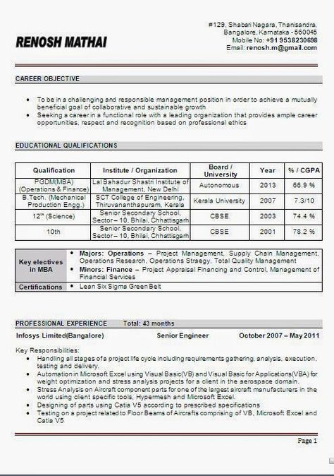 curriculum vitae format in word Beautiful Excellent Professional - project management career objective