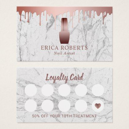 Nail Salon Polish Makeup Artist Marble Loyalty Business Card - makeup artist gifts style stylish unique custom stylist