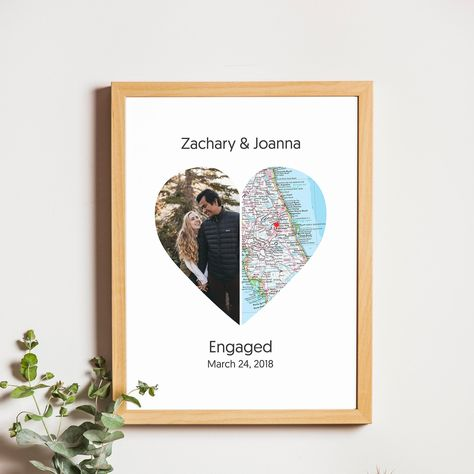 City Map Heart Art, Couple Photo in Love, Split Heart, Two Map Locations, Personalized Map Print, Engaged Gift, Anniversary Gift, Wedding