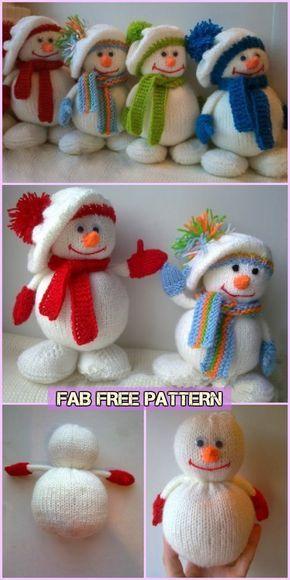 Knit Snowman Free Patterns Christmas Knitting Patterns Free Knitted Christmas Decorations Knitted Toys Free Patterns