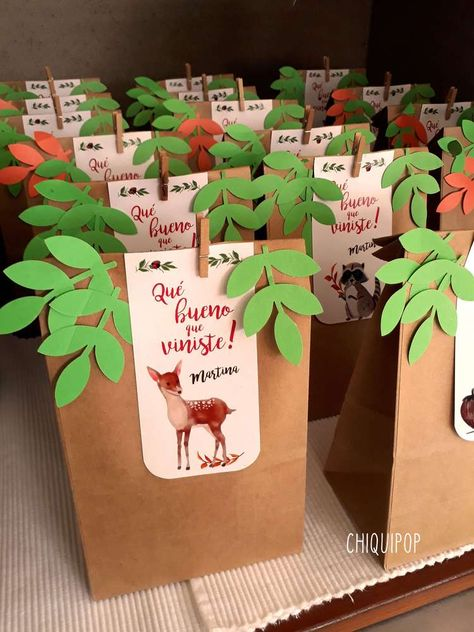 The party favor bags at this woodland birthday party are adorable!! See more  party ideas and share yours at CatchMyParty.com #catchmyparty #woodland  #woodlandpartyfavors #woodlandcupcakes #woodlandanimals #girlbirthdayparty