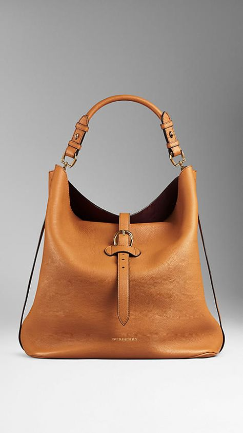 Cognac Large Buckle Detail Leather Hobo Bag - Image 1