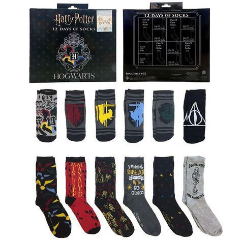 46ac7b2f486d 12 Days of Socks Gift Box Warner Bros. Harry Potter Crew Socks-Mens ...