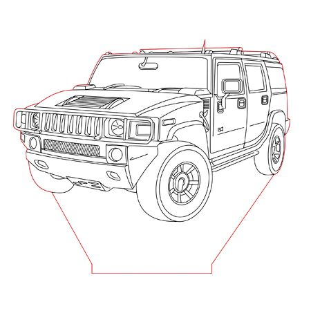 Hummer H2 3d Illusion Lamp Plan Vector File For Laser And Cnc 3bee Studio 3d Illusion Lamp 3d Illusions Illusions