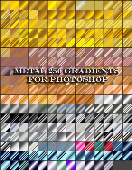 Metal 250 Gradients For Photoshop Free Download Name: Metal 250