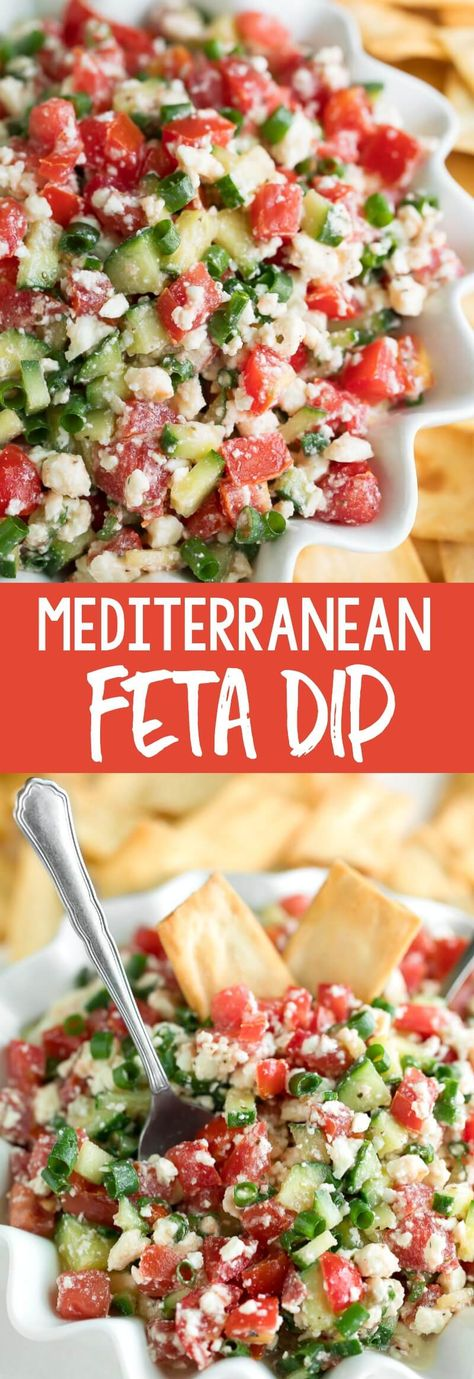 This easy Mediterranean Feta Dip can be served as a tasty party appetizer with pita chips or as a flavorful salad topper! This easy Mediterranean Feta Dip can be served as a tasty party appetizer with pita chips or as a flavorful salad topper! Best Appetizer Recipes, Appetizer Salads, Yummy Appetizers, Appetizers For Party, Dip Recipes, Easy Vegetarian Appetizers, Easy Summer Appetizers, Party Appetisers, Birthday Appetizers
