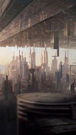 Matte Painting Art City Urban Futuristic Sci Fi Sunset