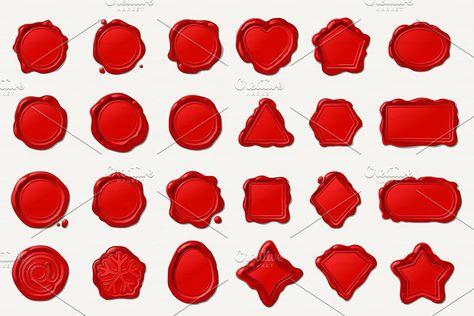 vector wax seal wax stamp red Set