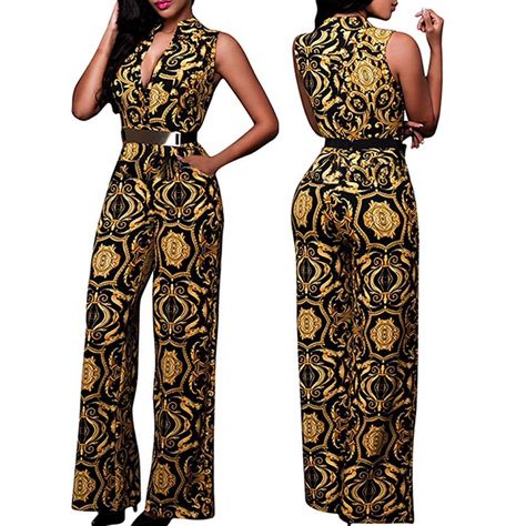 32b1f1946ff66 Pink Queen Women s Up Printed Long Wide Leg Pant Party Jumpsuits WithBelt