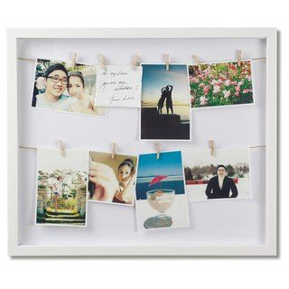 Umbra Clothesline Photo Display Picture Frame (White) - 3x4