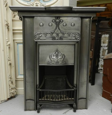 Original Art Nouveau Polished Integral Cast Iron Fire Surround For Sale On Salvoweb From Masco