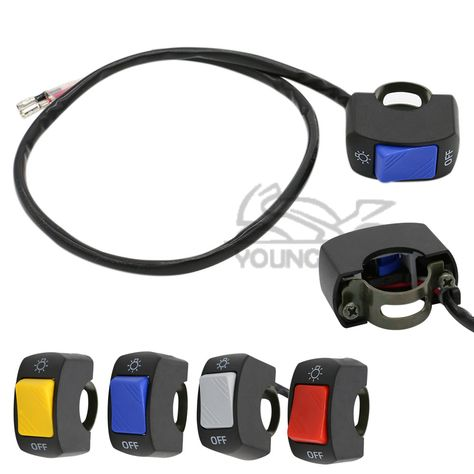 Motorcycle Switches Handlebar Mount,Waterproof 12V 22mm 7//8 ON-OFF Handlebar Mount Switch Healight Fog Light Switch