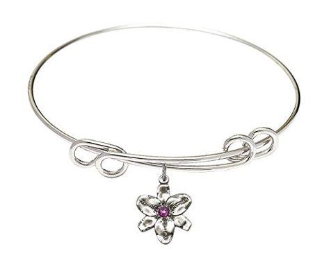 Bonyak Jewelry Round Double Loop Bangle Bracelet w//St Bede The Venerable in Sterling Silver