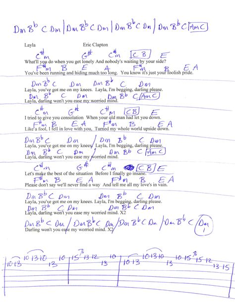 Layla (Eric Clapton) Guitar Chord Chart | Fingerstyle | Pinterest