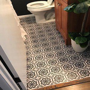 Vinyl Floor Tile Sticker Floor Decals Carreaux Ciment Encaustic Testino Tile Sticker Pack In Black Off White Floor Decal Flooring Vinyl Flooring