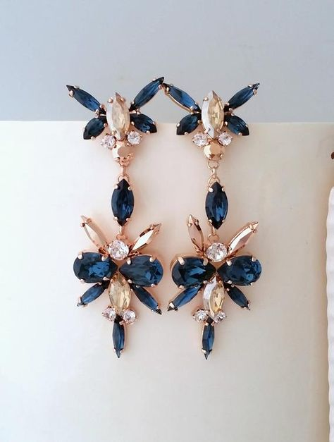 #weddings #jewelry #earrings #bridalearrings #swarovskiearrings #chandelierearrings #bridaljewelry #statementearrings #bridalearringsdrop #longearrings #rosegoldearrings #longbridalearrings #navyblueearrings #navybluechandelier #navybluechampagne #sapphireearrings