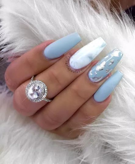 I Am Absolutely In Love With This Nail Look Baby Blue Nails With Silver Chrome Accents And The Marble Blue Acrylic Nails Marble Acrylic Nails Baby Blue Nails