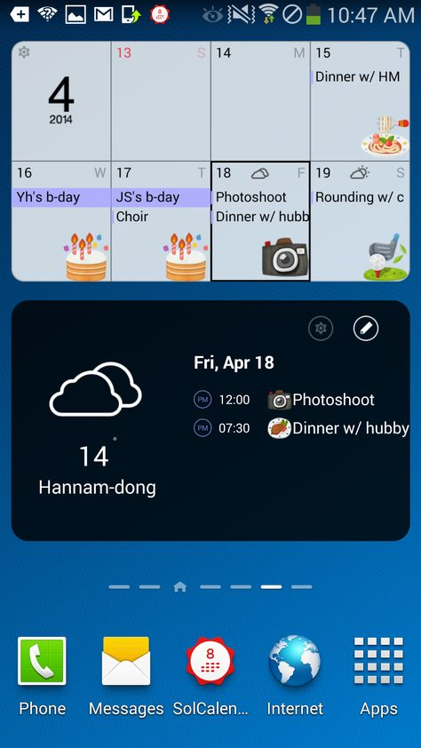 SolCalendar 1.0 Weekly and Today View widgets | Pictures