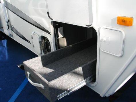 rv storage ideas | Custom made pull out storage box on heavy duty rails