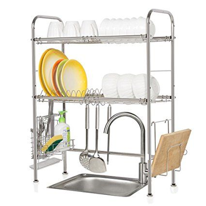 Nex 2 Tier Dish Rack Stainless Steel Dish Drainer Over The Sink Design Small Counter Saver Review Sink Design Dish Racks Dish Drainers
