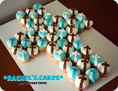 First Communion cupcakes in the shape of a cross.   Great table decoration!
